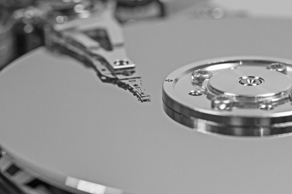 close up of a silver hard drive